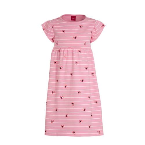 s.Oliver gestreepte jersey jurk roze/wit