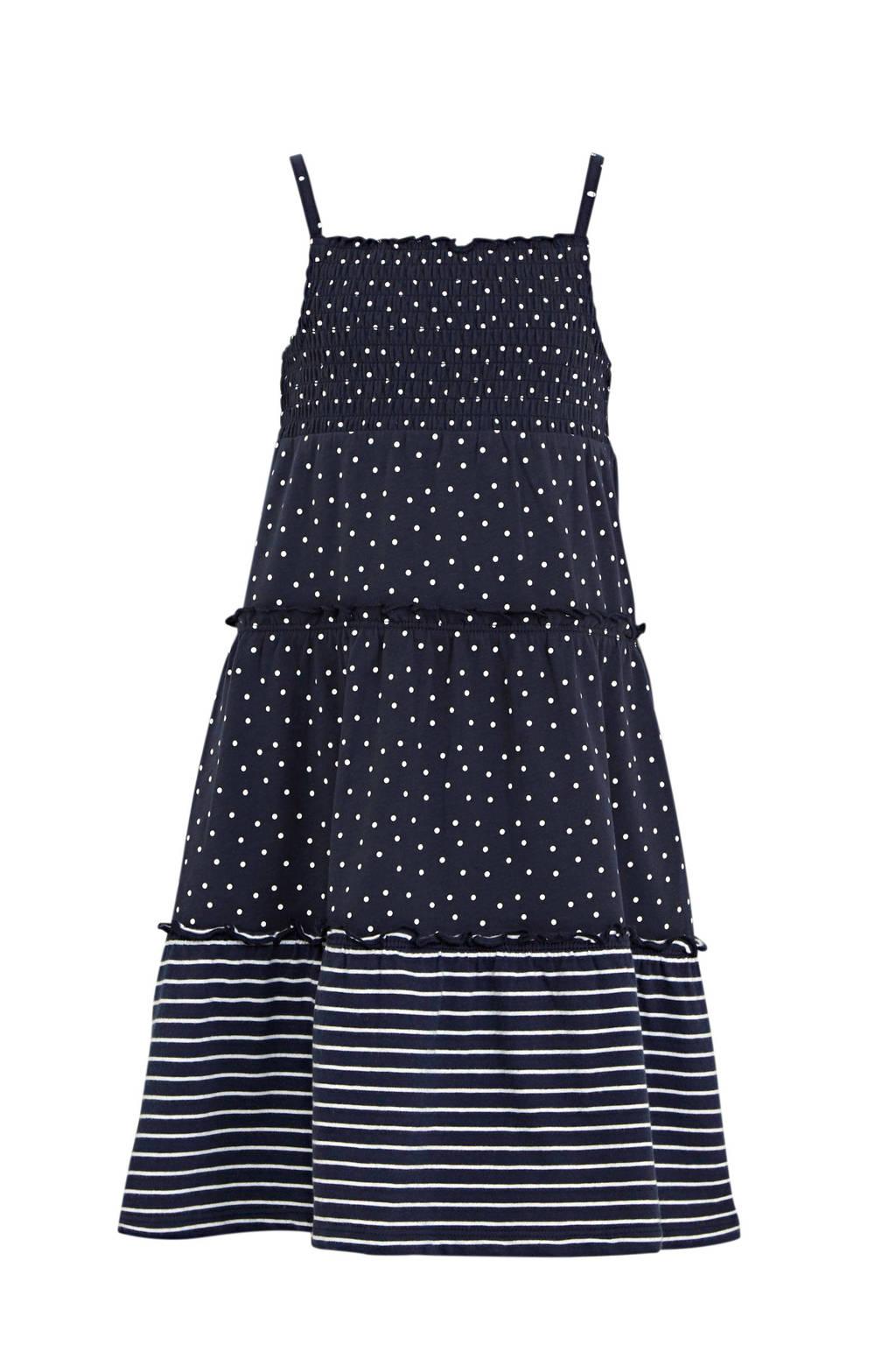 s.Oliver A-lijn jurk met all over print en volant blauw, Blauw