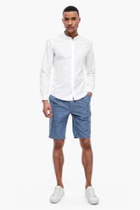 s.Oliver BLACK LABEL slim fit overhemd met linnen en zijstreep wit, Wit