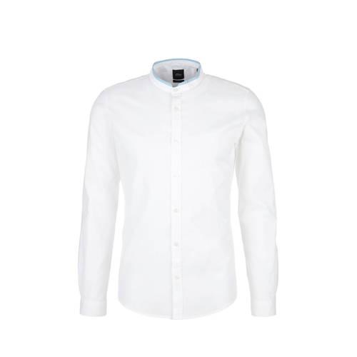 s.Oliver BLACK LABEL slim fit overhemd met linnen