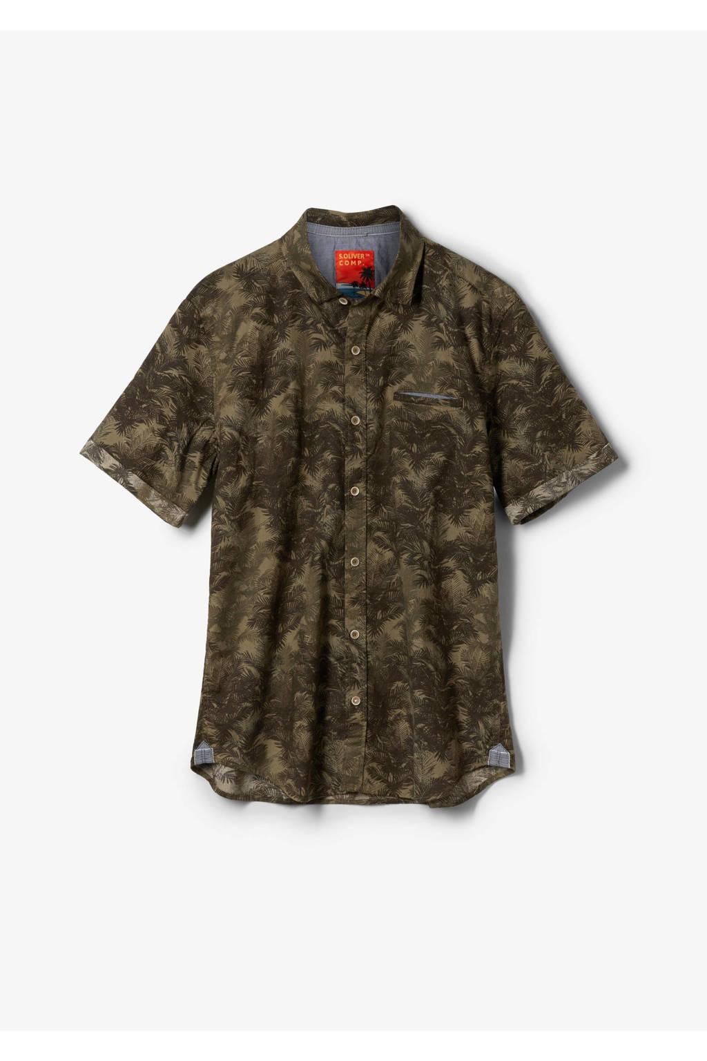 s.Oliver slim fit overhemd met all over print olijfgroen, Olijfgroen