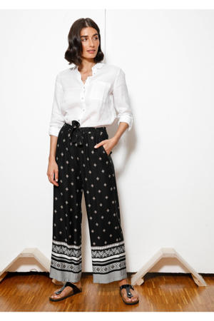 high waist palazzo broek met all over print zwart