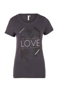 Q/S designed by T-shirt met printopdruk antraciet, Antraciet