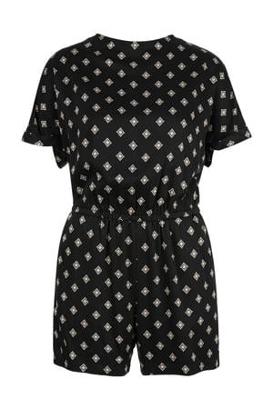 playsuit met all over print zwart/ecru