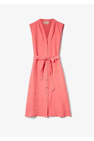 linnen blousejurk met ceintuur roze