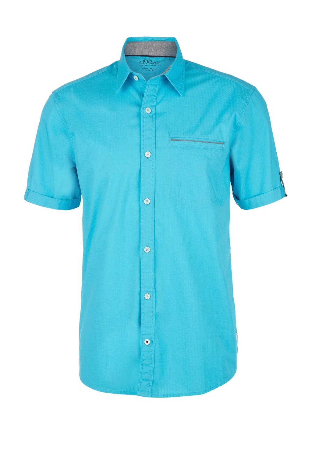 s.Oliver regular fit overhemd turquoise, Turquoise