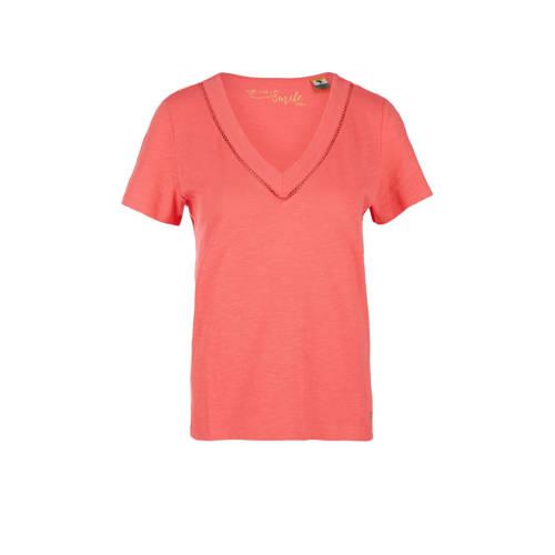 s.Oliver T-shirt met open detail roze