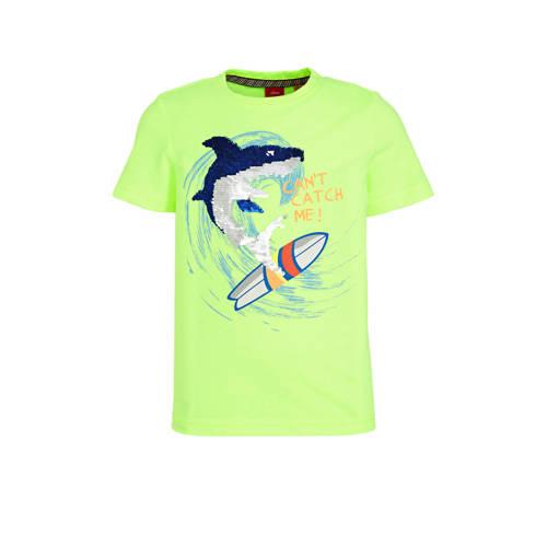 s.Oliver T-shirt met omkeerbare pailletten limegro