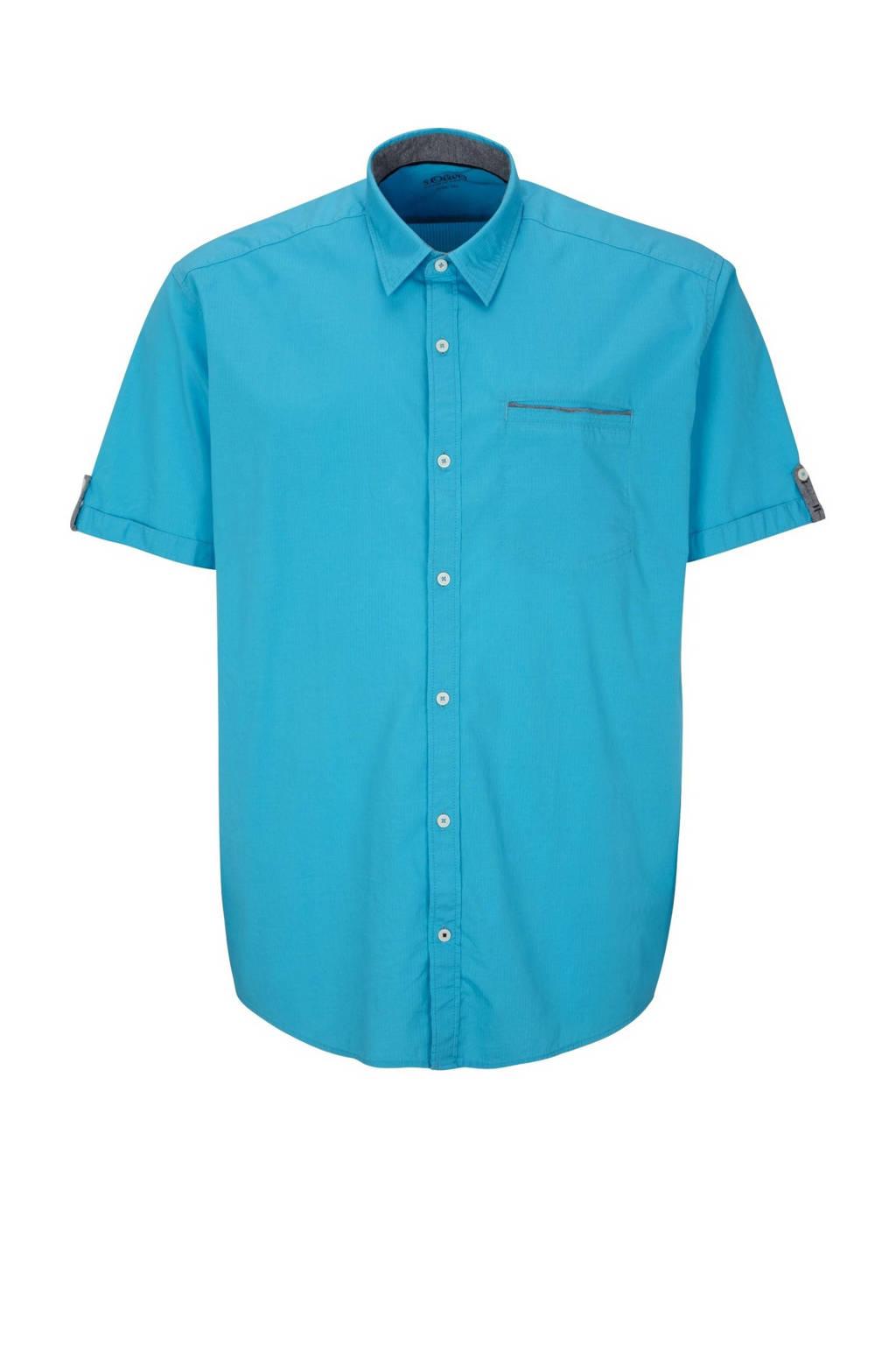 s.Oliver regular fit denim overhemd turquoise, Turquoise