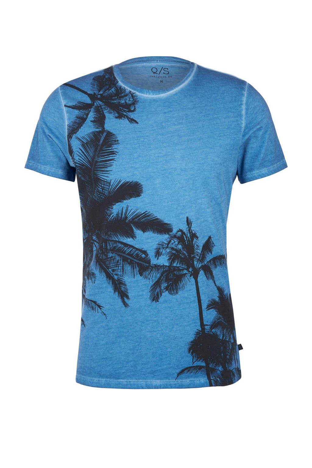 Q/S designed by T-shirt met printopdruk blauw, Blauw