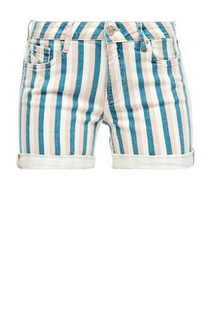 gestreepte jeans short petrol/roze/wit