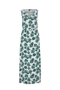 s.Oliver BLACK LABEL maxi jurk met all over print en open detail ecru/blauw, Ecru/blauw