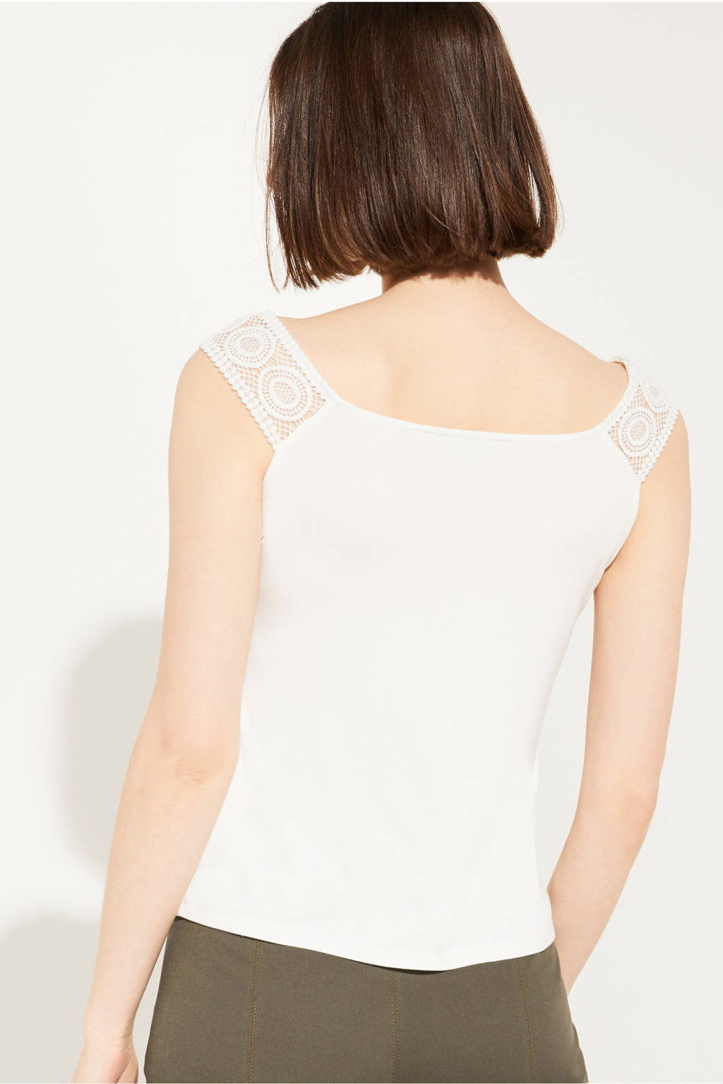 comma off shoulder top met kant wit, Wit