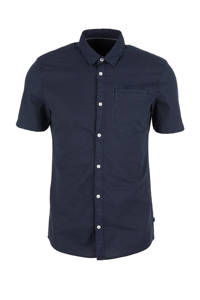 Q/S designed by slim fit overhemd met linnen donkerblauw, Donkerblauw