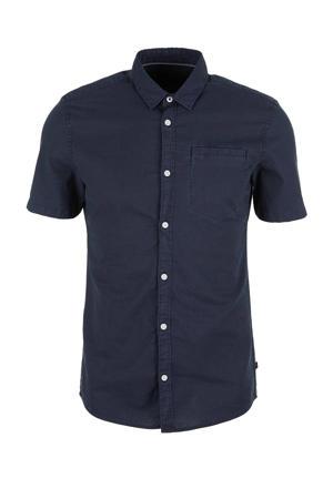slim fit overhemd met linnen donkerblauw
