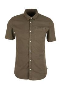 Q/S designed by slim fit overhemd met linnen donkergroen, Donkergroen