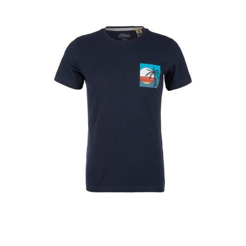 s.Oliver T-shirt met logo donkerblauw