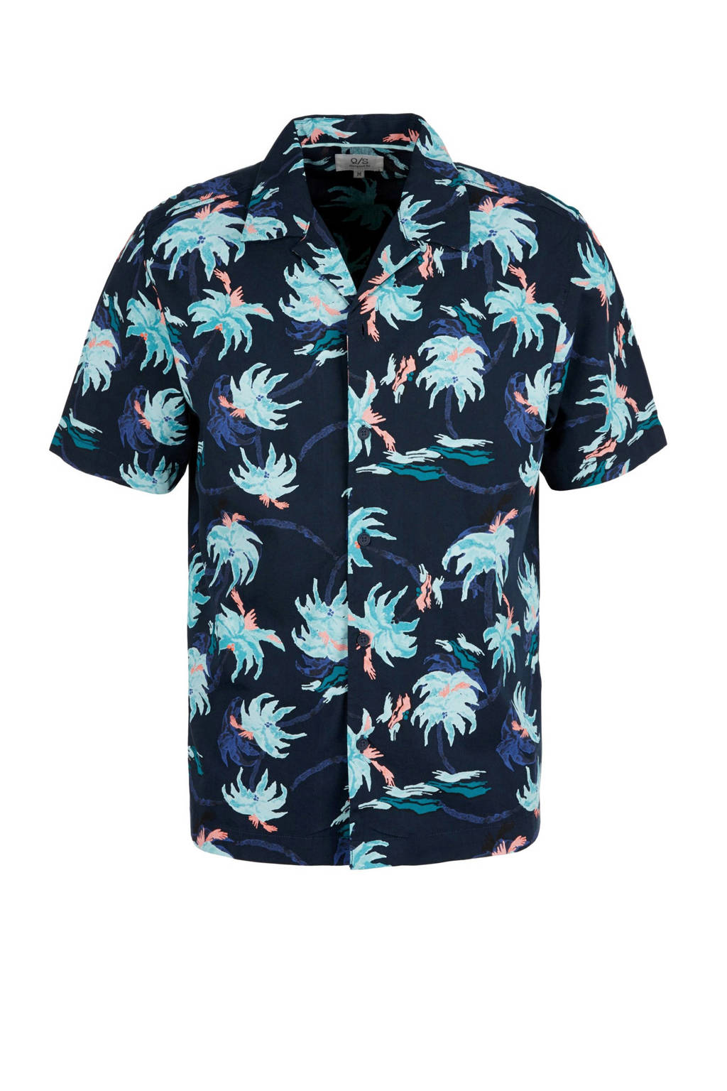 Q/S designed by regular fit overhemd met all over print blauw, Blauw