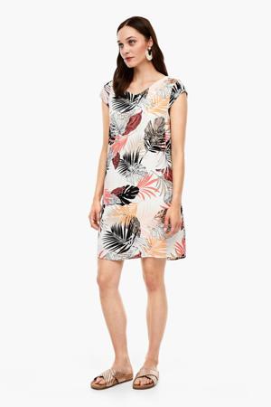 jurk met all over print ecru/multi