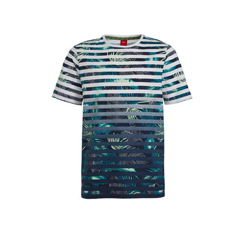 s.Oliver gestreept regular fit T-shirt donkerblauw