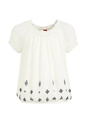 blouse met printopdruk en borduursels ecru/zwart