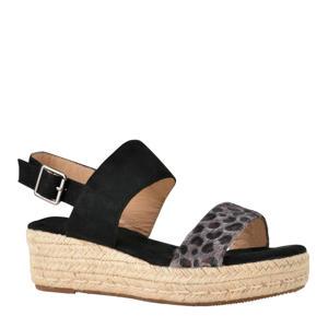 plateau sandalen zwart/panterprint