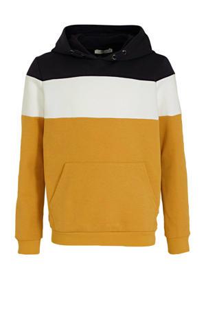 hoodie Nacoro geel/wit/donkerblauw