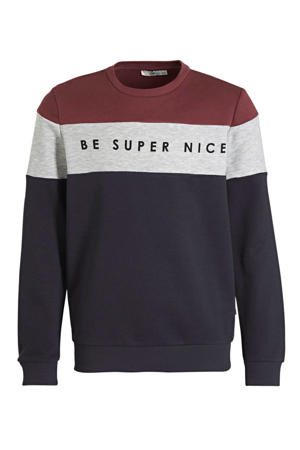 sweater Nekoja met tekst donkerrood/donkerblauw/offwhite