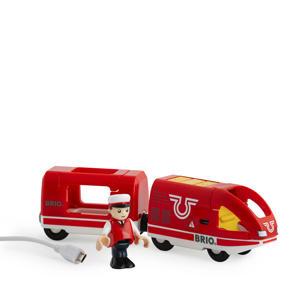 houten Oplaadbare rode passagierstrein met USB kabel - 33746