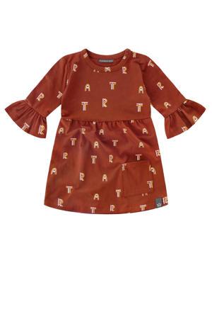 A-lijn jurk met all over print en ruches roest