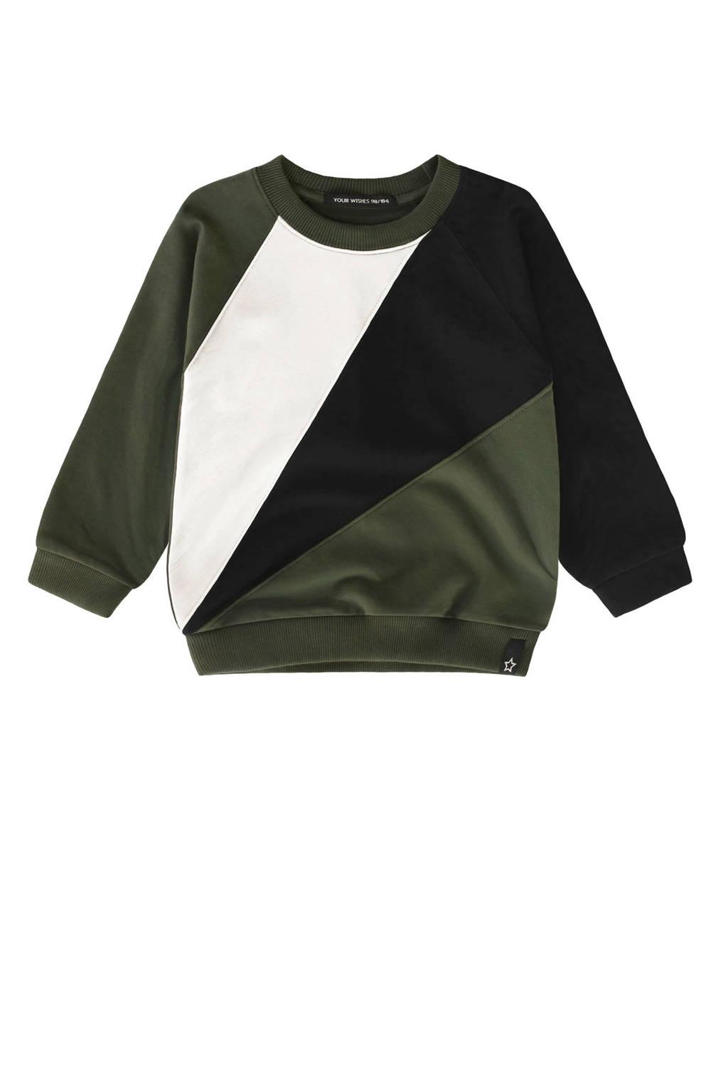 Your Wishes sweater groen/wit/zwart, Groen/wit/zwart