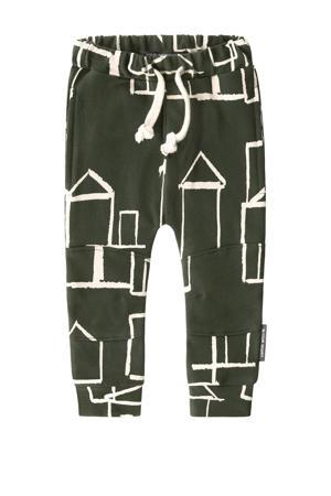 regular fit broek met all over print groen/wit
