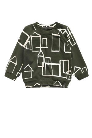 sweater met all over print groen/wit