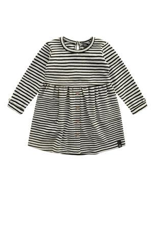 gestreepte A-lijn jurk beige/zwart