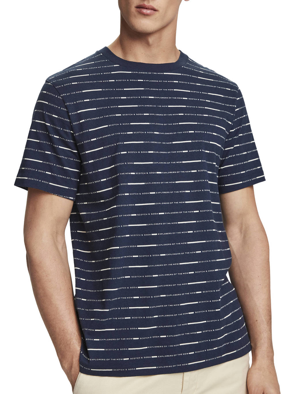 Scotch & Soda T-shirt met all over print donkerblauw, Donkerblauw