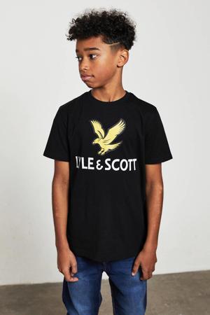 T-shirt met logo zwart/geel/wit