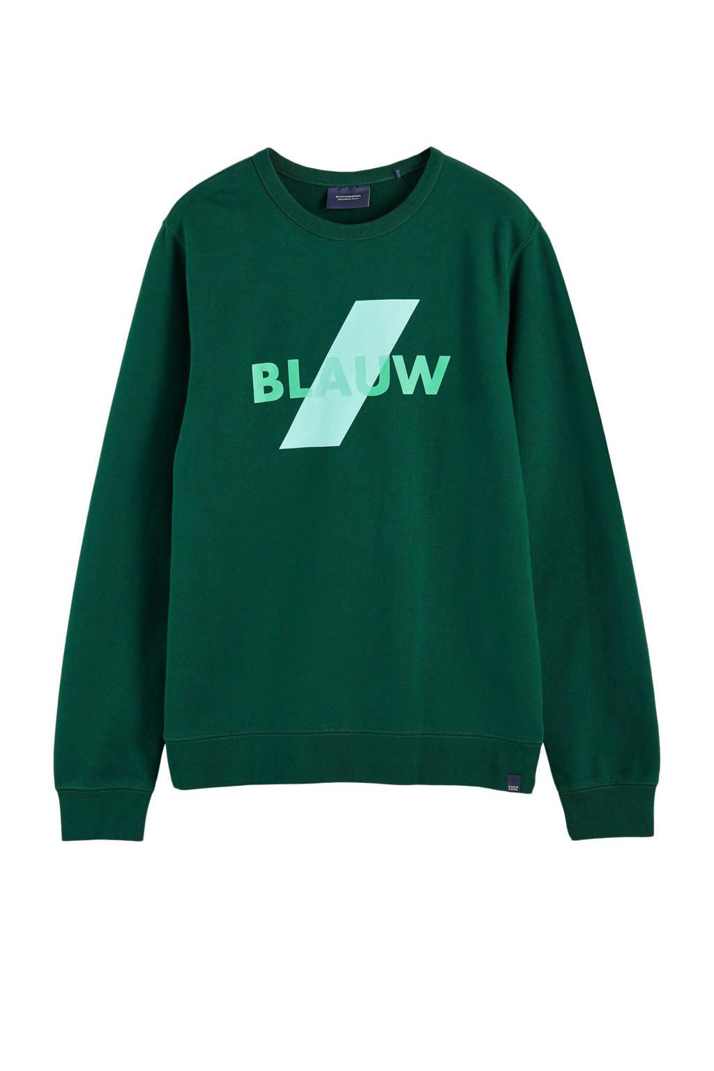Scotch & Soda Amsterdams Blauw sweater met printopdruk groen, Groen