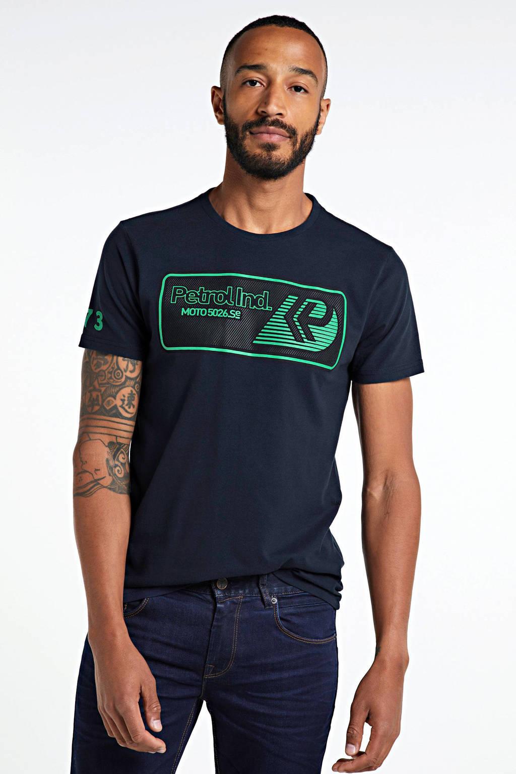 Petrol Industries T-shirt met logo zwart/groen, Zwart/groen