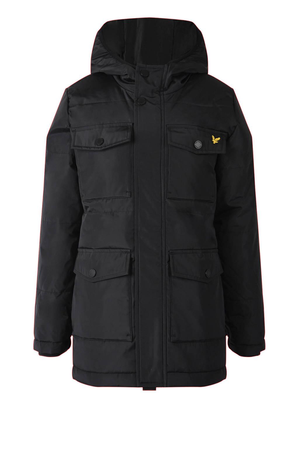 Lyle & Scott gewatteerde winterjas met logo zwart, Zwart