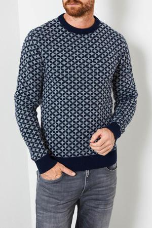 trui met all over print donkerblauw