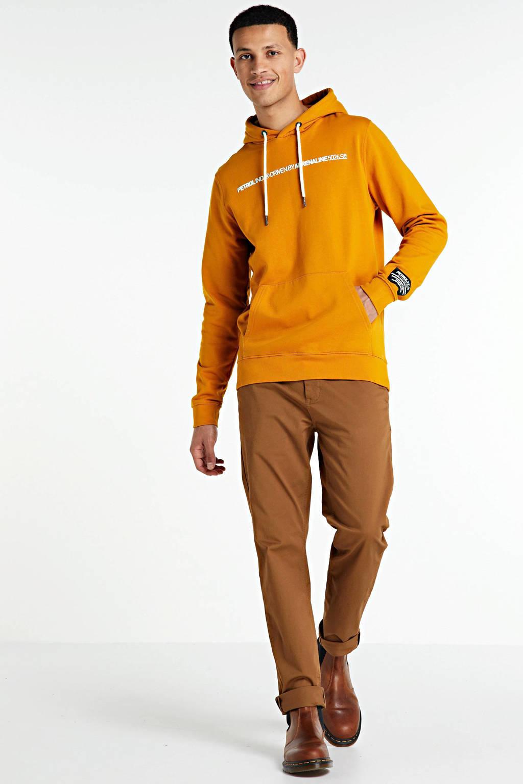 Petrol Industries hoodie met tekst oker/wit, Oker/wit