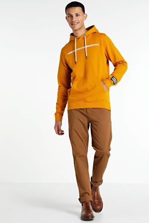 hoodie met tekst oker/wit