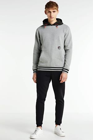 hoodie met contrastbies grijs melange