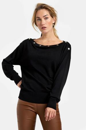 fijngebreide trui zwart/zilver