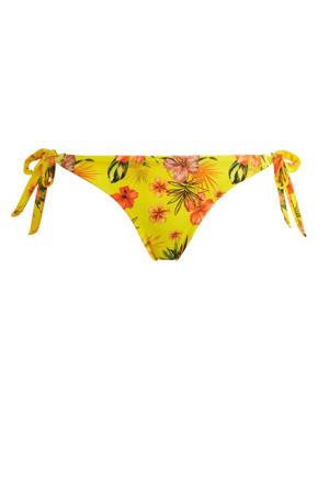 reversible strik bikinibroekje met all over print geel/oranje