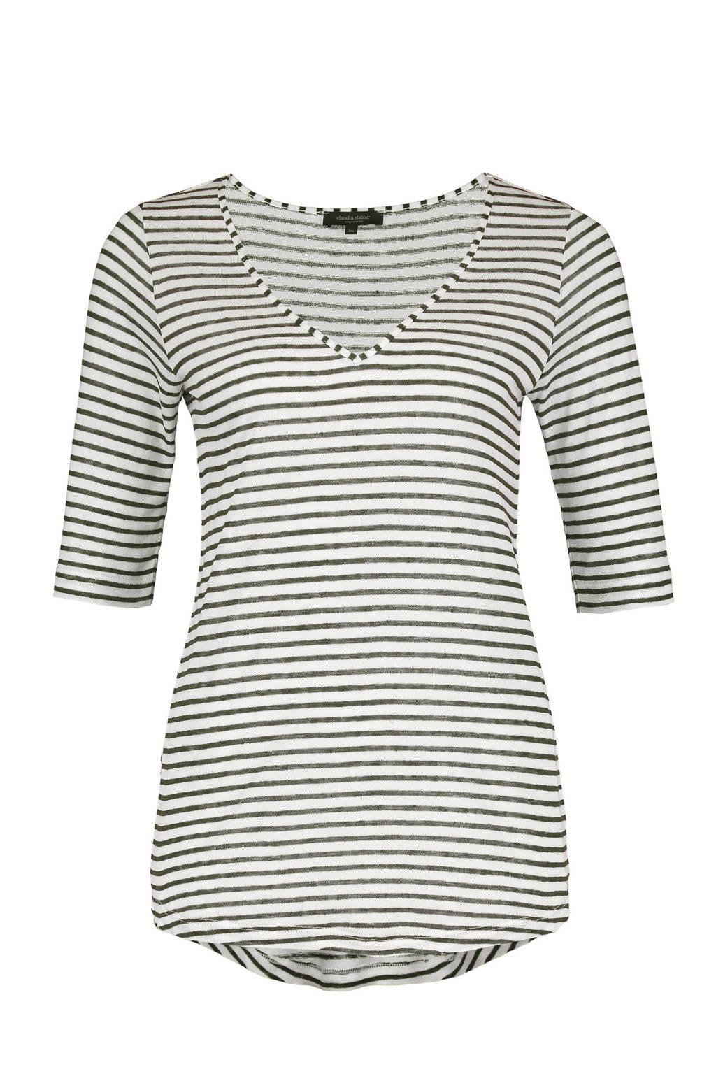 Claudia Sträter gestreept T-shirt met linnen ecru/grijs, Ecru/grijs