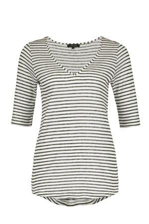 gestreept T-shirt met linnen ecru/grijs