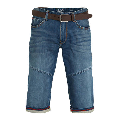 s.Oliver regular fit jeans short donkerblauw