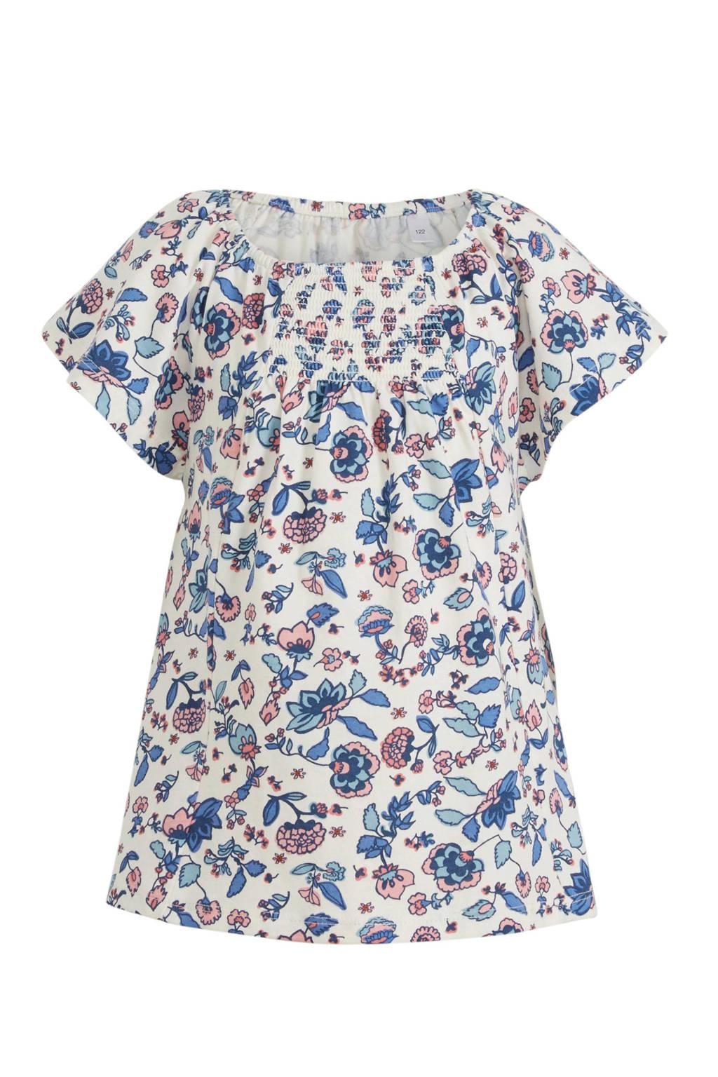 C&A Palomino gebloemd T-shirt wit/lichtroze/blauw, Wit/lichtroze/blauw