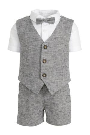 overhemd + broek met strik en gilet - set van 4 wit/grijs